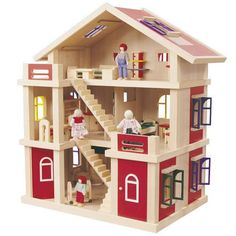 Modern Wooden Dollhouse | Details And Features: - Wooden Three Level Dolls House