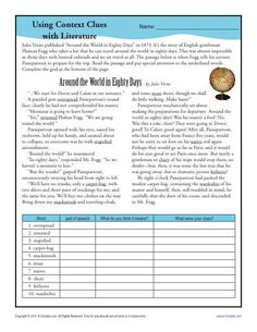 Finding the meaning with context clues is the focus of this middle school worksheet.
