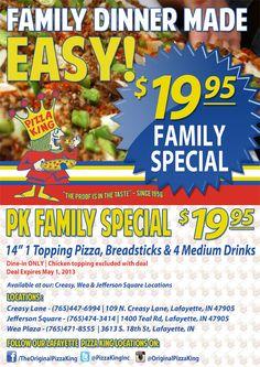 Pizza King Family Special Promo  #Pizza #Food #Graphic #Design #SocialFlyWay  www.theoriginalpizzaking.com