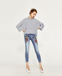 Image 1 of EMBROIDERED FLORAL JEANS from Zara