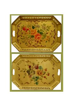 Pair TOLEWARE TRAYS - VINTAGE Hand Painted floral Beige Octagonal with Reticulated sides