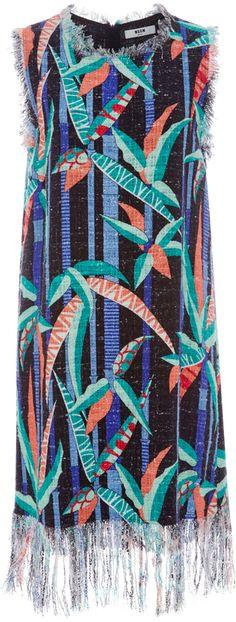 MSGM Fringed Hem Printed Midi Dress