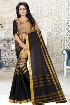 Beige and black cotton and art silk printed saree with beige and black art silk blouse. Embellished with embroidered and print embroidery. Saree with ,Asymmetrical Neck Blouse, Elbow Sleeve. It comes with unstitch blouse, it can be stitched to sizes. Latest Indian Saree, Indian Sarees Online, Indian Beauty Saree, Blue Silk Saree, Raw Silk Saree, Silk Sarees, Online Shopping, Sari Design, Ethnic Sarees