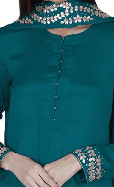 Teal Blue Gota Patti And Kasab Hand Embroidered Suit Silk Kurti Designs, Kurta Designs Women, Kurti Designs Party Wear, Salwar Designs, Neck Designs For Suits, Neckline Designs, Dress Neck Designs, Blouse Designs, Stylish Dresses