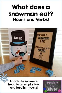 Wow! This was a hit with my little ones. They loved feeding the snowman nouns (and the verb snowman too). Other winter literacy centers included.