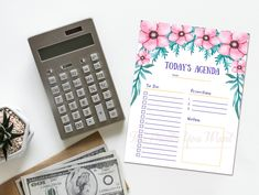 Daily Planner Printable, Weekly Planner, Daily Agenda, Planner Decorating, Calendar 2020, Desk Calendars, Paper Goods, Pink Flowers, Digital Prints