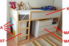 I've seen quite a few IKEA KURA bed with chest of drawers beneath it. Here are 5 ways to add storage under the IKEA KURA bed, from drawers to open units. Ikea Kids, Furniture Outlet, Discount Furniture, Furniture Online, Furniture Stores, Girl Bedroom Designs, Kids Bedroom, Malm Drawers, Ikea Garden Furniture