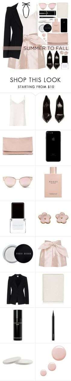 """""""Summer to Fall"""" by mylkbar ❤ liked on Polyvore featuring L'Agence, Yves Saint Laurent, Sole Society, LMNT, Gucci, Context, Bobbi Brown Cosmetics, Cynthia Rowley, Armani Collezioni and Barneys New York"""