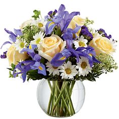 Deep purple iris mingles with pale yellow roses, white traditional daisies, Queen Anne's Lace and lush greens #flowers http://www.sendflowers.com/product/the-ftd-sweet-beginnings-bouquet.htm?refcode=15save
