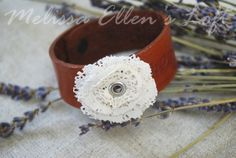 leather lace flower cuff