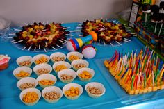 Liam's first birthday food - fruit kabobs, Cheerios & goldfish crackers for babies, & cheese cubes