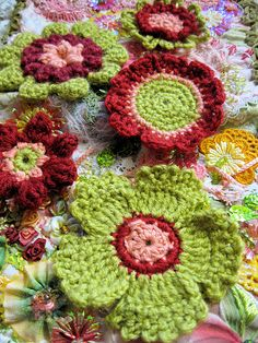 Crochet flowers, inspiration.   <3