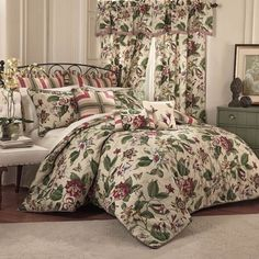 Transform any bedroom into an exotic garden oasis with the Waverly Laurel Springs Reversible Bedspread Set. The beautiful bedding boasts a traditional leafy vine and floral mix in rich jewel tones on a natural ground. Waverly Bedding, Bedspread Set, Comforter Sets, Bedding Sets, Bed Springs, Bedroom Decor, Comforters, Bed Bath And Beyond, Bedding Collections
