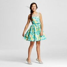 Girls' Young Hearts Butterfly Dress - Turquoise