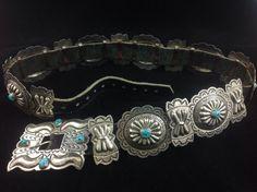 Vintage Native American Navajo Sterling Silver Concho Belt Signed