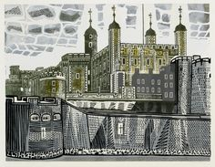 Tower of London (1966) Linocut, Printed in Colours. Edition of 25.