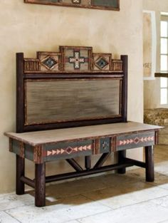 Decorate in style with rustic living room furniture & classic midcentury furnishings. Rustic living room sets and more. Rustic Living Room Furniture, Western Furniture, Home Furniture, Southwestern Home Decor, Southwestern Decorating, Southwestern Style, Painted Benches, Rustic Western Decor, Rustic Style