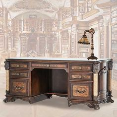 Part of our Designer Collection, the Victoria's Manor Desk is designed with an artistic flair that blends the vintage beauty of distressed cultured stone, top-grain leather and solid wood.<br><br /><strong>SEE THE OTHER ITEMS IN THE VICTORIA'S MANOR OFFICE</strong><br /> [$3,399.95]