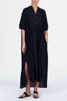 Christophe Lemaire — Maxi Shirt Dress Midnight Blue — THE LINE