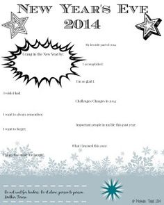 New Year's Eve 2014 Journal Printable by Melinda Todd