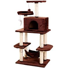 Cat Tree Condo HouseKitten Activity Trees Tower with Hammock Scratch Proof  Dirtresistant Cat Tree Condo Pet Play House Bed MultiLevelCoffee ** Learn more by visiting the image link. (This is an affiliate link) #CatCarrier