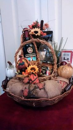 Wine, Crackers, Cheese, Apple Butter & Chocolates HANDMADE Vintage Festive Fall THANKSGIVING Gift Basket by cappelloscreations $62 @Etsy