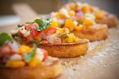 Summer peach bruschetta...This was quite yummy. A light refreshing lunch. I didn't have enough peaches so I used mango (but the mango was a little bitter:() So, next time I would like to try this with a combo of peaches and strawberries OR just peaches.