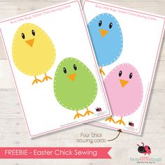 Free Easter Chick Sewing Cards from Busy Little Bugs Easter Activities, Spring Activities, Easter Crafts For Kids, Craft Activities, Holiday Fun, Holiday Crafts, Easter Bunny, Easter Chick, Lacing Cards