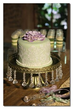 Purple/Gold/Mint Green Wedding Cake