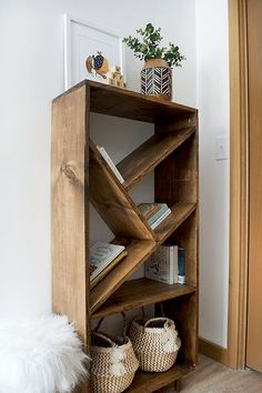 DIY Bookcase with Angled Shelves - Shelf Bookcase - Ideas of Shelf Bookcase - DIY Bookcase with Angled Shelves Modern Bookshelf, Bookshelf Ideas, Nursery Bookshelf, Bookcase Painting Ideas, Build A Bookshelf, Homemade Bookshelves, Diy Bookcases, 2 Shelf Bookcase, Bedroom Bookcase