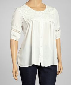 Look at this Reborn Collection White Crochet-Yoke Button-Up Top - Plus on #zulily today!