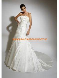 Schlichtes romantisches Brautkleid aus Satin Bodenlang A-Linie Trägerlos mit Blumen