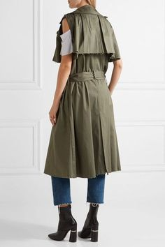 Maggie Marilyn - The Brave Ruffle-trimmed Stretch-cotton Twill Gilet - Army green - UK
