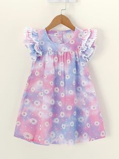 Product name: Toddler Girls Daisy Floral Print Ruffle Sleeve Dress at SHEIN, Category: Toddler Girl Dresses Cotton Frocks For Kids, Frocks For Girls, Little Girl Outfits, Toddler Girl Dresses, Kids Outfits, Girls Dresses, Toddler Girls, Dresses For Toddlers, Lace Dresses