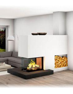 Heizkamin mit Ofenbank, Sichtfenster, Großkeramik - unterschiedliche Designs möglich! Designs, Bungalow, Villa, House, Home Decor, Fire Places, Open Fireplace, Fireplace Living Rooms, House Interior Design