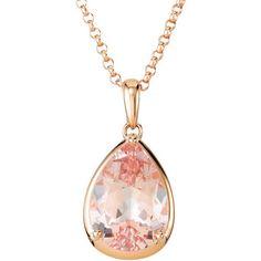 Women's 14k Rose Gold Pear Shape Genuine Morganite Pendant 18 Inch Chain