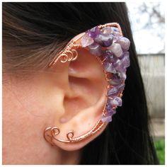 Elven Elf Ear Cuffs Amethyst Copper Halloween Jewelry Elf Earring... (240 DKK) ❤ liked on Polyvore featuring jewelry, earrings, amethyst earrings, beaded jewelry, clip on earrings, cuff earrings and purple amethyst earrings