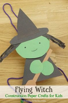 This paper witch craftivity is so much fun! Using simple supplies, your child will create a Halloween craft that can make their imagination fly. halloween crafts for kids Halloween Arts And Crafts, Easy Arts And Crafts, Theme Halloween, Fall Crafts For Kids, Paper Crafts For Kids, Halloween Activities, Arts And Crafts Projects, Arts And Crafts Supplies, Toddler Crafts