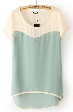 Love! Light Green Short Sleeve Dipped Hem Chiffon Blouse - She inside . com