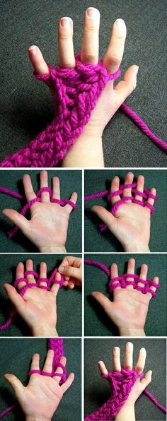 How to Create Finger Knitted Scarves - DIY Very Easy Method to Knit: The Finger Knitting. See tutorial. Finger Knitting Blankets, Diy Knitting Scarf, Diy Scarf, Arm Knitting, Knitting For Kids, Knitted Blankets, Baby Knitting Patterns, Scarf Patterns, Knitting Machine