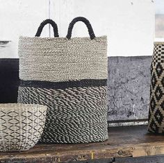 Design Vintage | Tall Seagrass Baskets | Natural Black | Hubsch