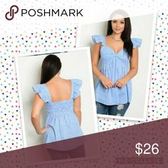2 Left*please bundle*BLUE AND WHITE PLUS SIZE TOP 100% COTTON  SLEEVELESS PLAID TOP WITH CAP SLEEVES. Tops