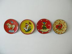 Vintage Child's Tin Plates Toy Plates Saucers Tin by PassedBy