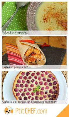 Menu du jour - Jeudi 23 mai // #ptitchef #recette #cuisine #faitmaison #menu #menudujour #idée #repas #asperge #fajitas #poulet #clafoutis #cerises