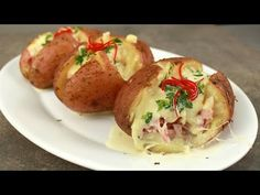 YouTube Queso Recipe, Ham And Cheese, Roasted Potatoes, Recipe Of The Day, Relleno, Potato Recipes, Baked Potato, Ethnic Recipes, Food