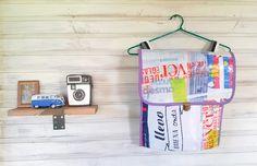 Mochila hecha a partir de bolsas plásticas recicladas #collardefideos #diseñosustentable. Bag pack made of recycled plastic bags.