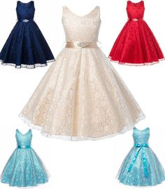 Kids Girls Flower Princess Lace Occasion Wedding Party Pageant Communion Dresses