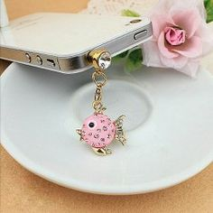 $3.12 Sweet Rhinestoned Solid Color Fish Shape Cellphone Dustproof Plug For Women
