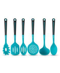 Look at this #zulilyfind! Blue Six-Piece Silicone Utensil Set #zulilyfinds