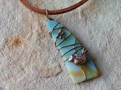 Stained Glass Necklace for Women Wire by UniqueChiqueJewelry
